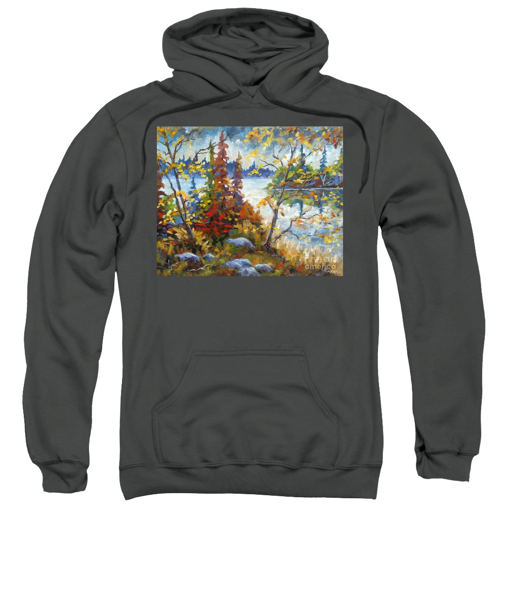 Trees Sweatshirt featuring the painting Lake Cartier by Richard T Pranke