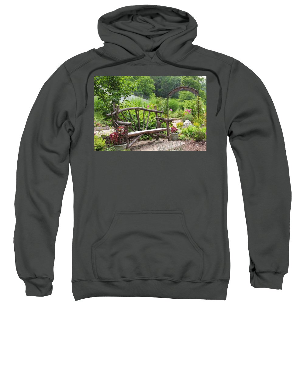 Bench Sweatshirt featuring the photograph Lake Lure Flowering Bridge Bench by Allen Nice-Webb