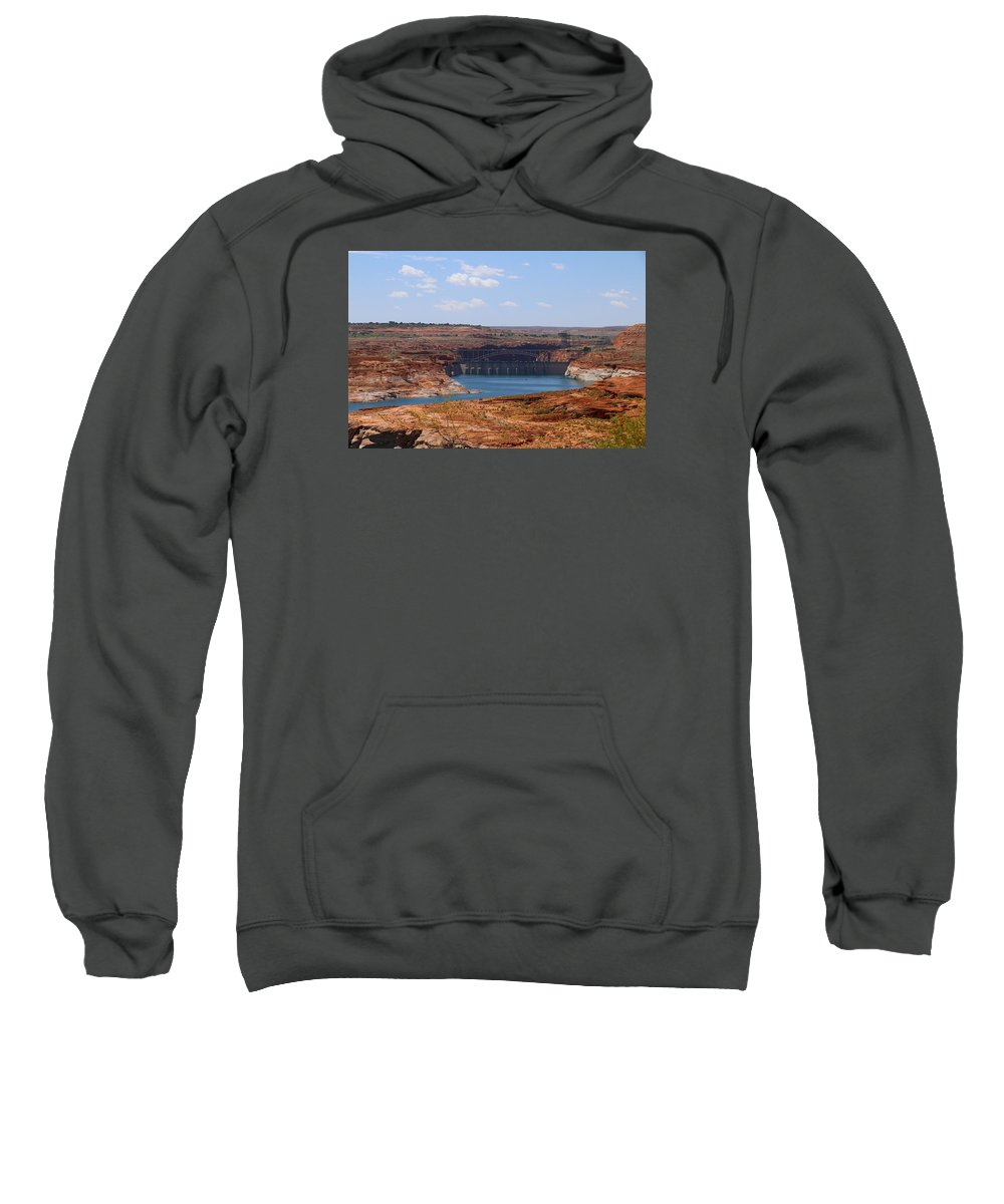 Lake Sweatshirt featuring the photograph Lake Powell And Glen Canyon Dam by Christiane Schulze Art And Photography