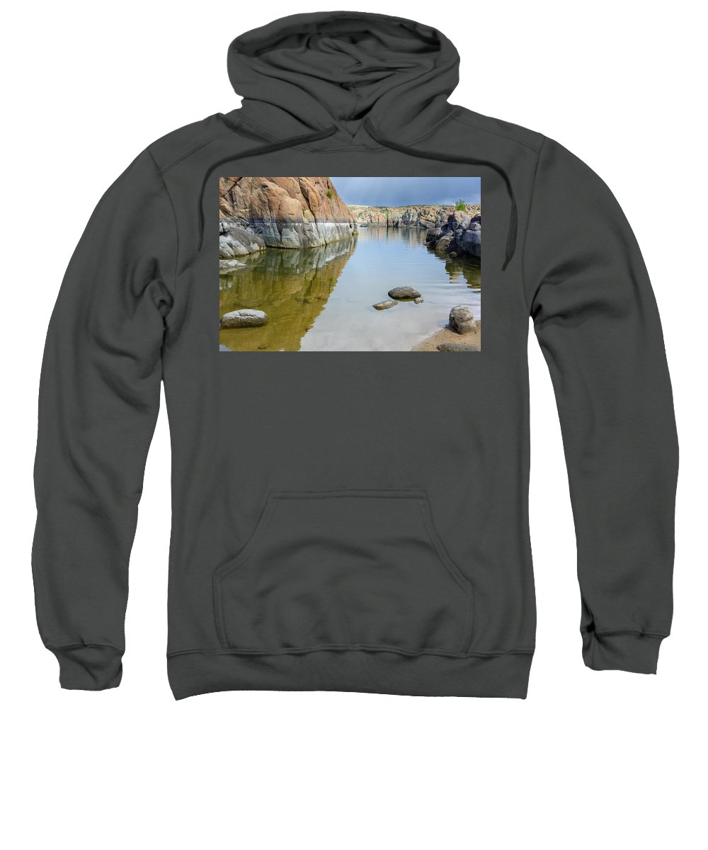 Water Sweatshirt featuring the photograph Lake Reflections At Granite Dells by Daniel Dean