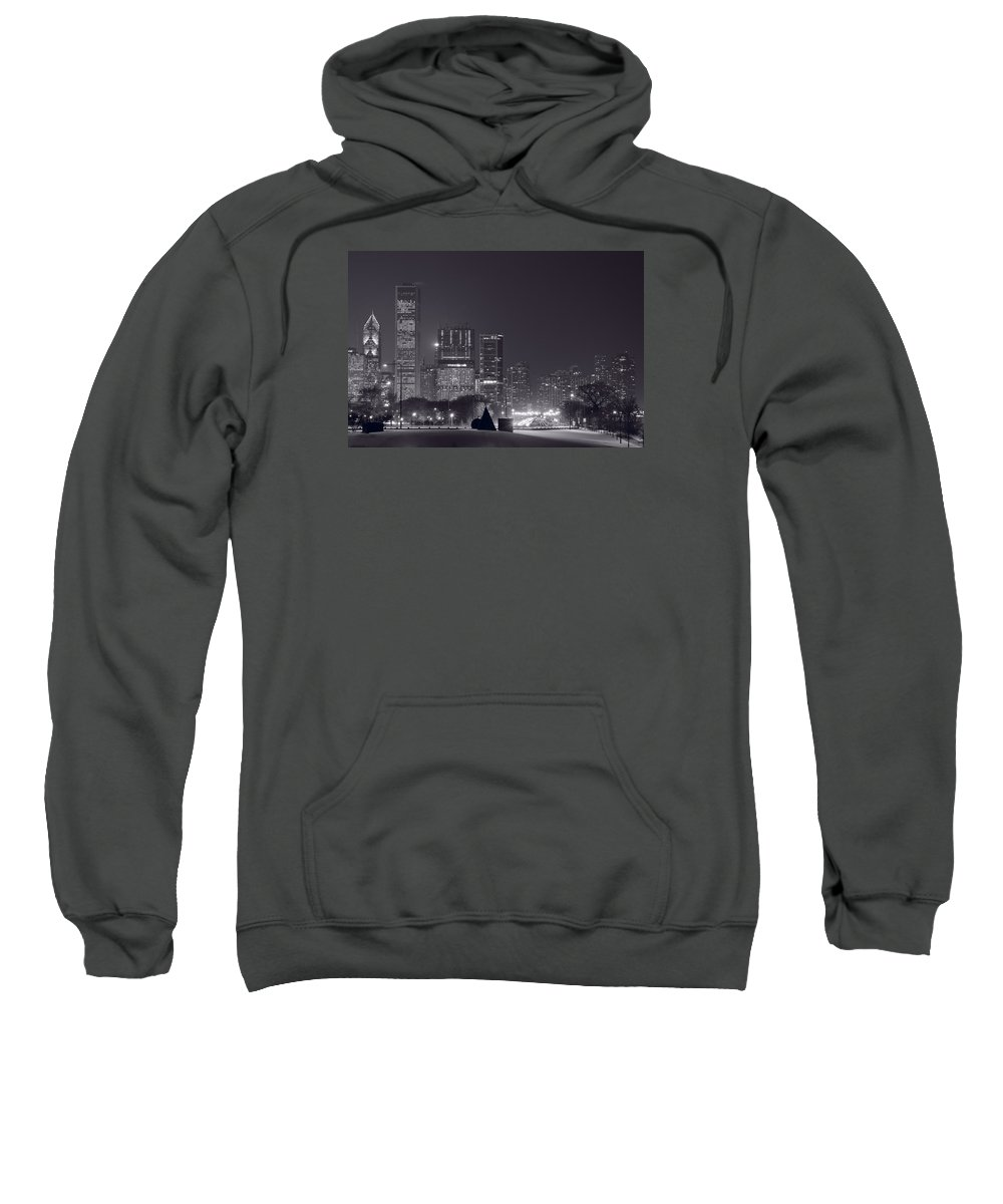 Building Sweatshirt featuring the photograph Lake Shore Drive Chicago B And W by Steve Gadomski