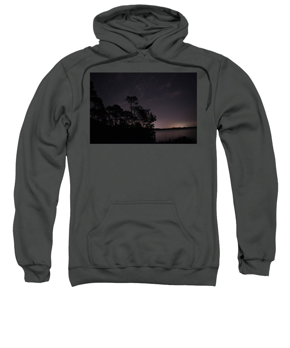 Night Photography Sweatshirt featuring the photograph Lake Silhouette by Benjamin Dunlap