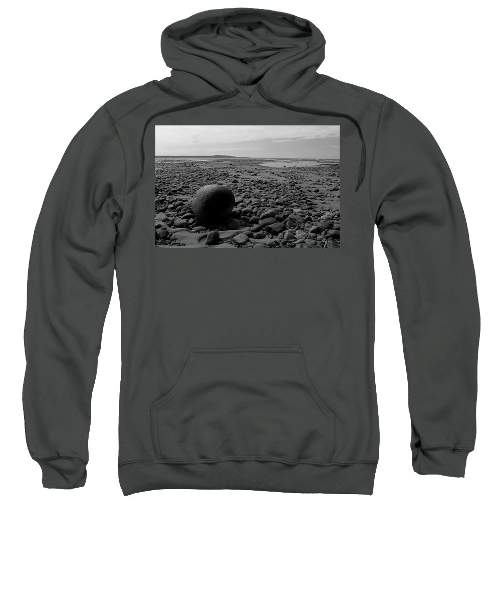 Lake Sweatshirt featuring the photograph Lake Superrior Rock Black And White by Marko Mitic