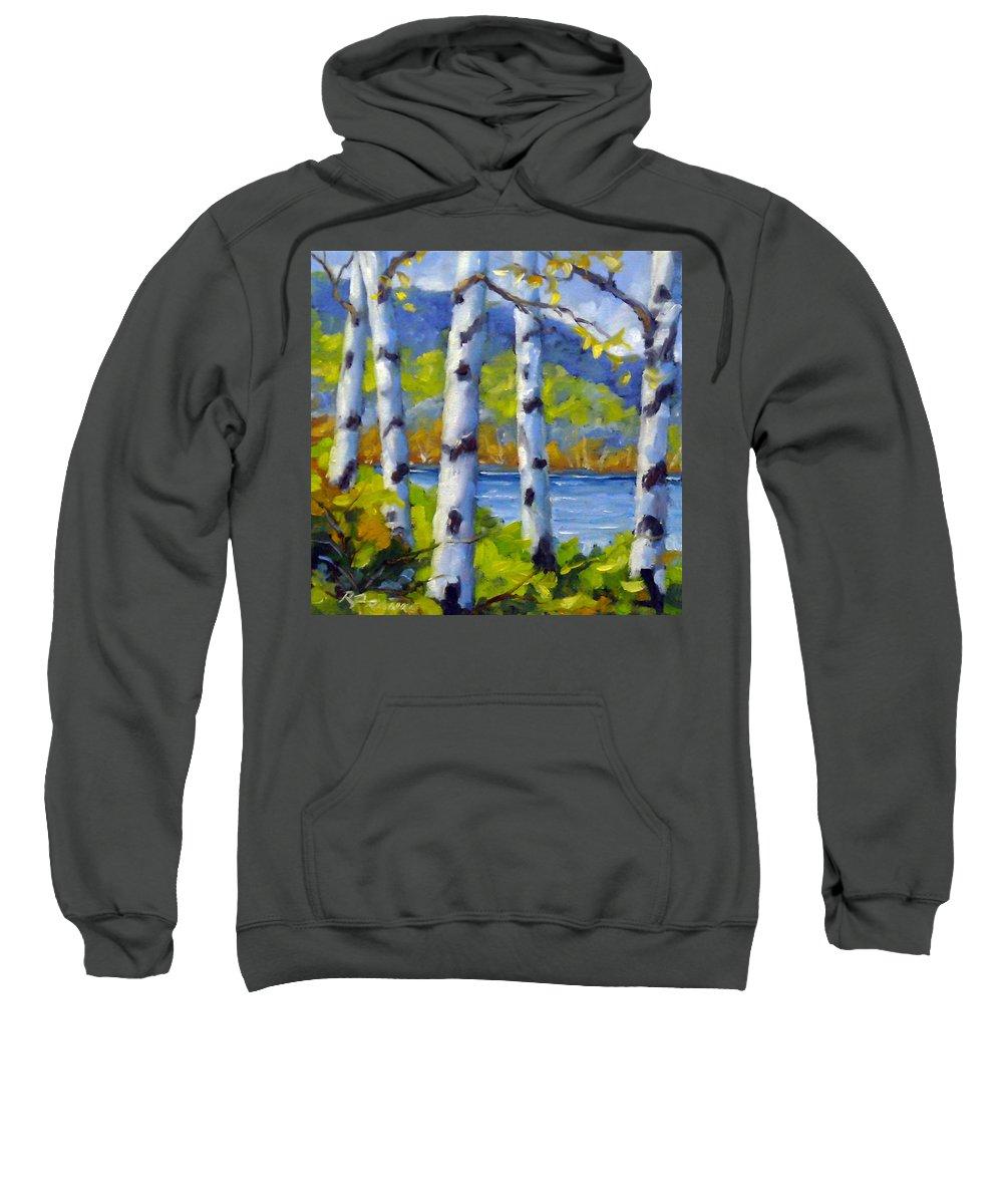 Original Painting;oil; Landscape; Birches; Trees; Nature; Richard T Pranke; Lake Sweatshirt featuring the painting Lake View by Richard T Pranke