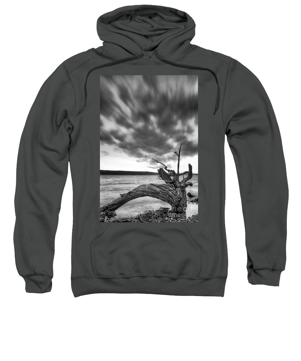 Sweatshirt featuring the photograph Lakeshore Winter Clouds by Michele Steffey