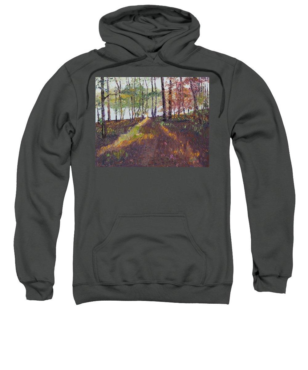 Landscape Sweatshirt featuring the painting Lakeside Shadows by Lea Novak