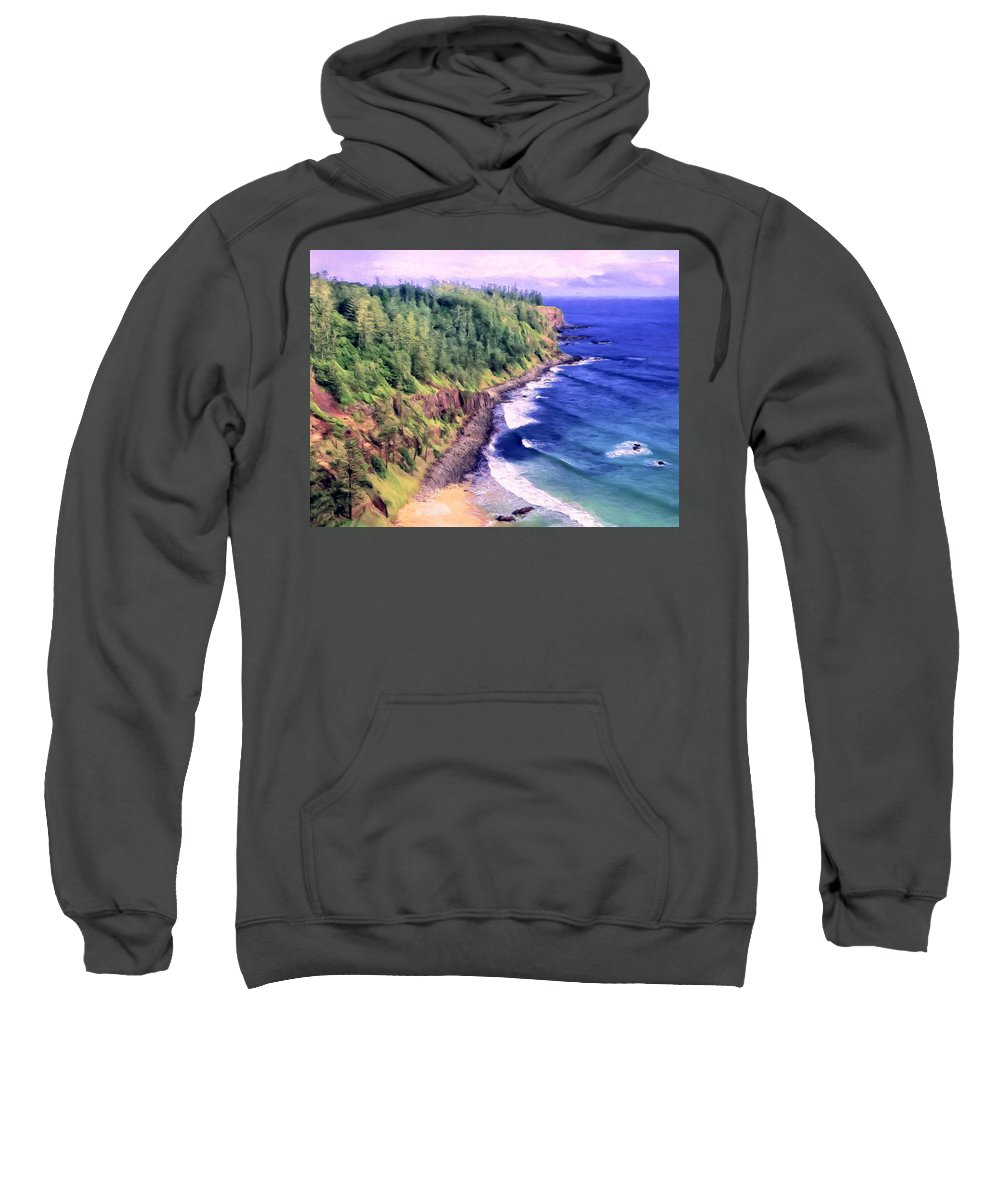 Ocean Sweatshirt featuring the painting Land's End by Dominic Piperata