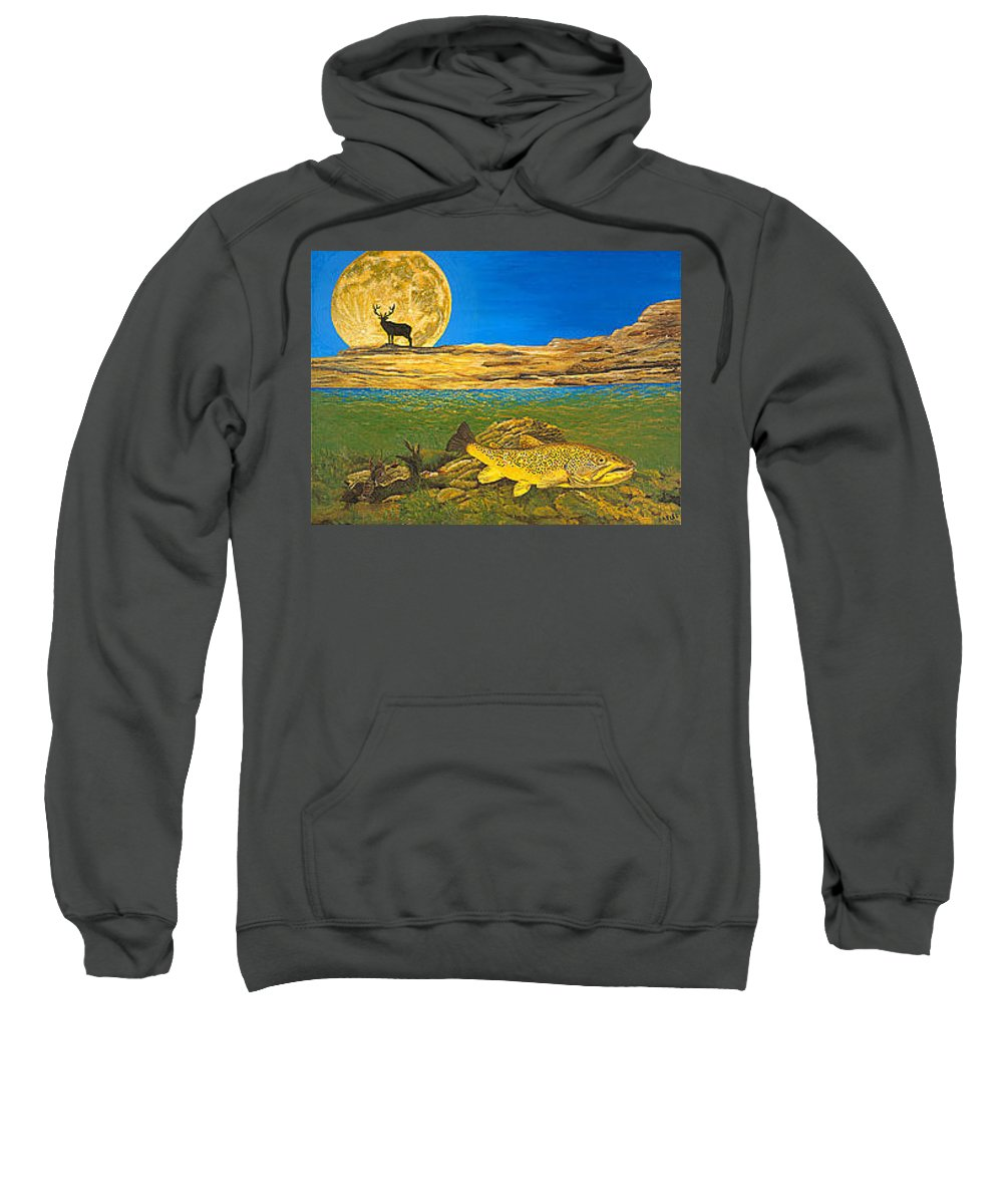 Artwork Sweatshirt featuring the painting Landscape Art Fish Art Brown Trout Timing Bull Elk Full Moon Nature Contemporary Modern Decor by Baslee Troutman