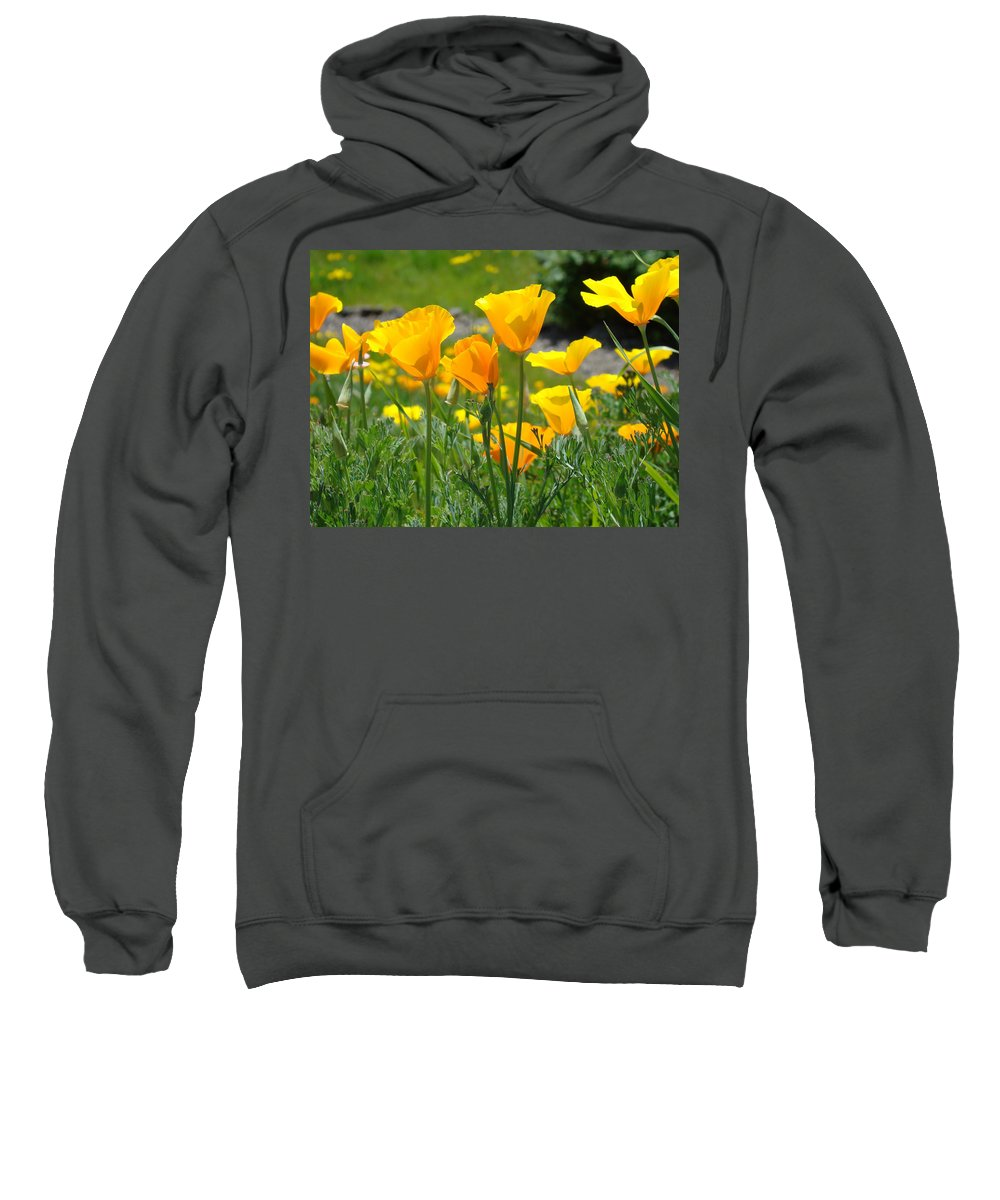 �poppies Artwork� Sweatshirt featuring the photograph Landscape Poppy Flowers 5 Orange Poppies Hillside Meadow Art by Baslee Troutman