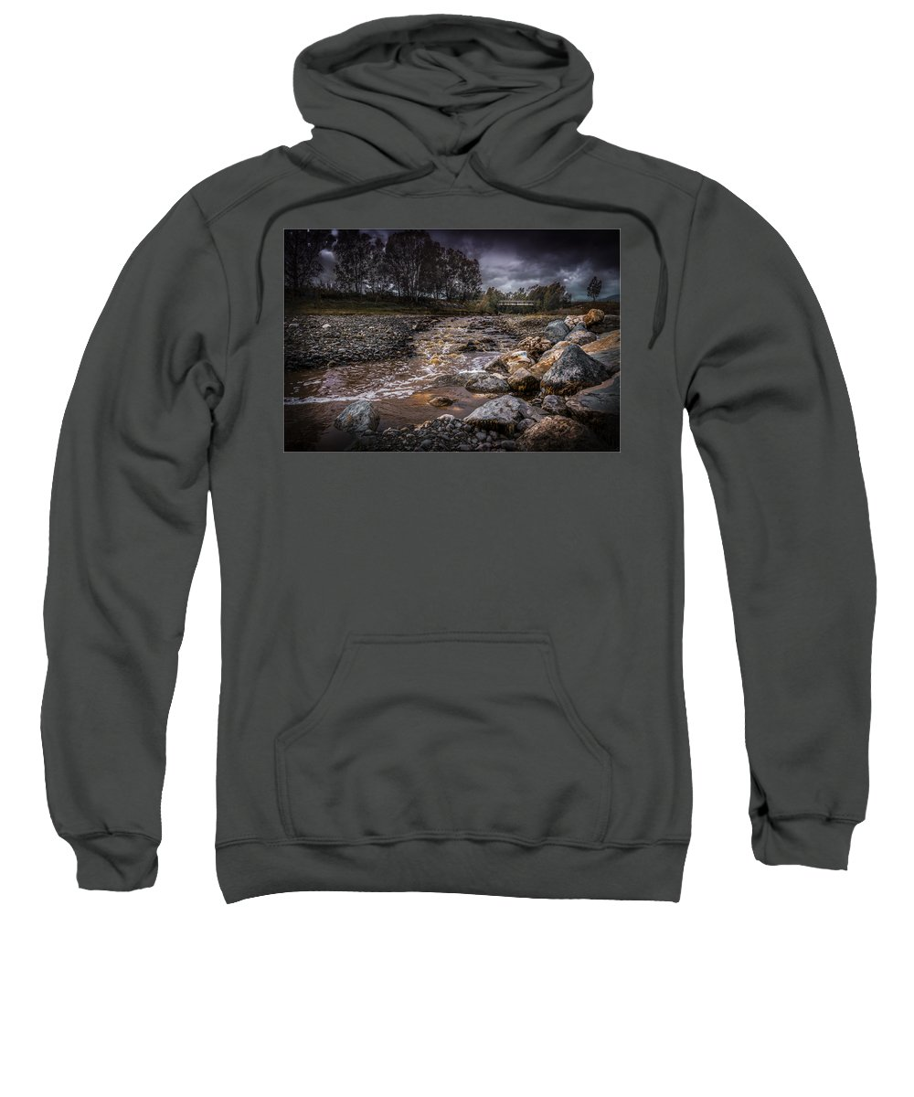 Autumn Sweatshirt featuring the photograph Landscape River And Bridge II by Peter Hayward Photographer