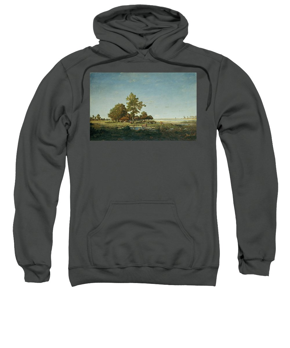 Animal Sweatshirt featuring the painting Landscape With A Clump Of Trees by Theodore Rousseau