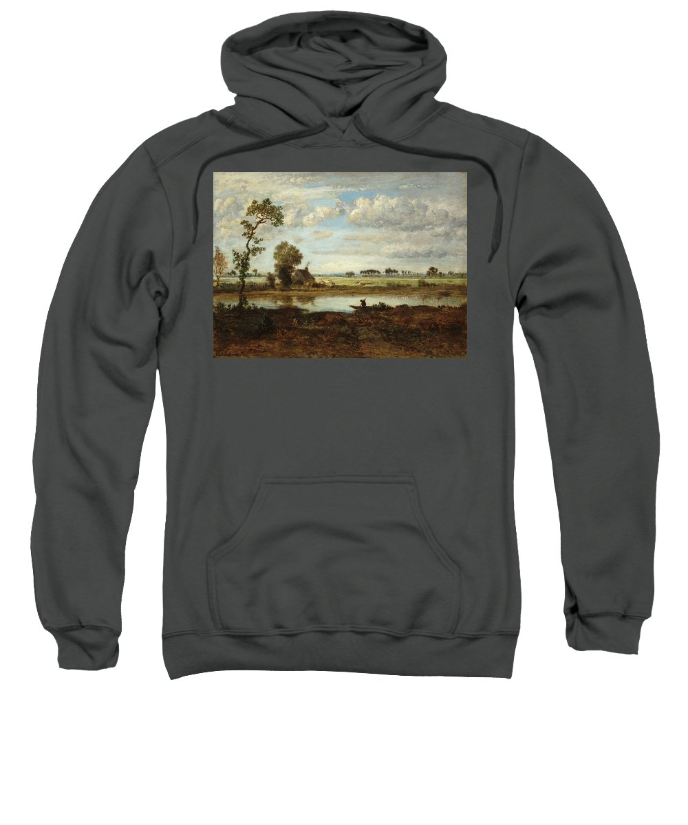 Barbizon School Sweatshirt featuring the painting Landscape With Boatman by Theodore Rousseau