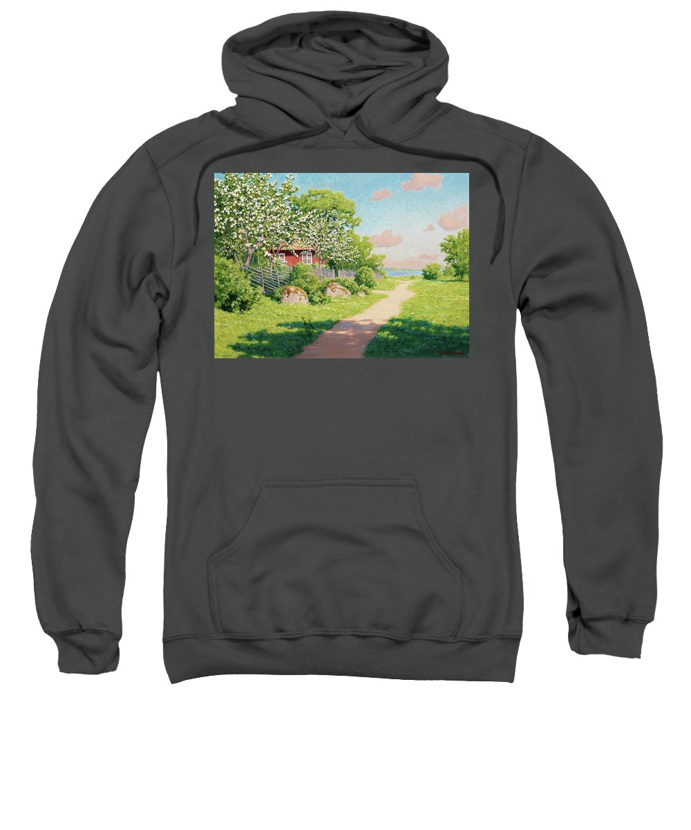 Johan Krouthen Sweatshirt featuring the painting Landscape With Fruit Trees by Johan Krouthen