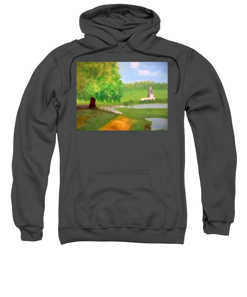 Tree Sweatshirt featuring the painting Landscape With Luxuriant Tree And Folly by Peter Gartner