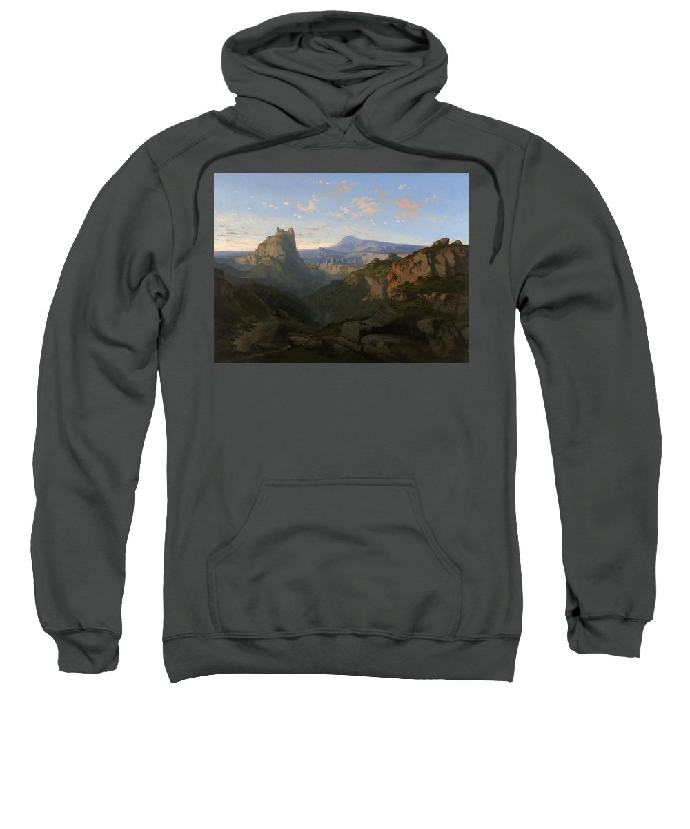 Lluis Rigalt Sweatshirt featuring the painting Landscape With The Castle Of Montsegur by Lluis Rigalt