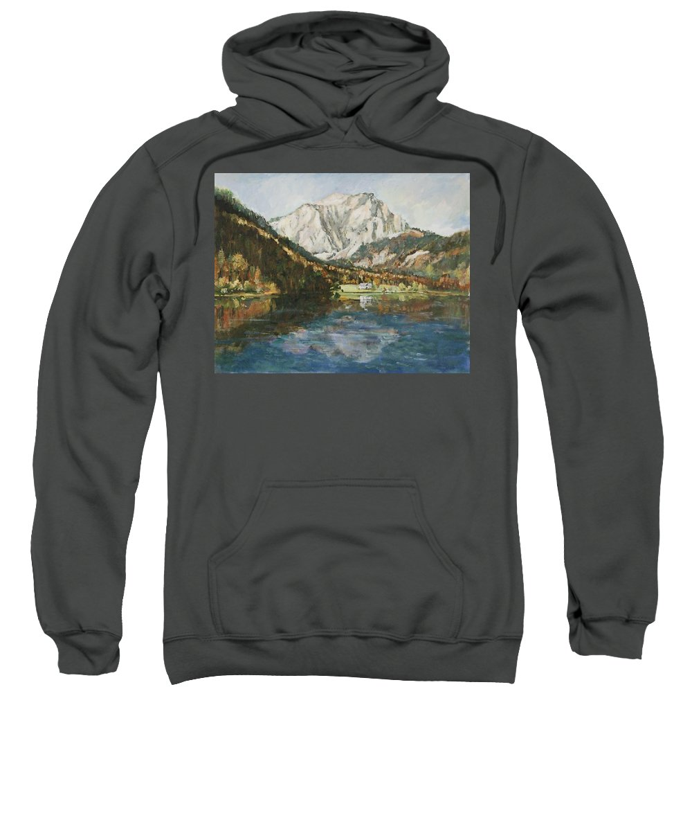 Landscape Sweatshirt featuring the painting Langbathsee Austria by Alexandra Maria Ethlyn Cheshire