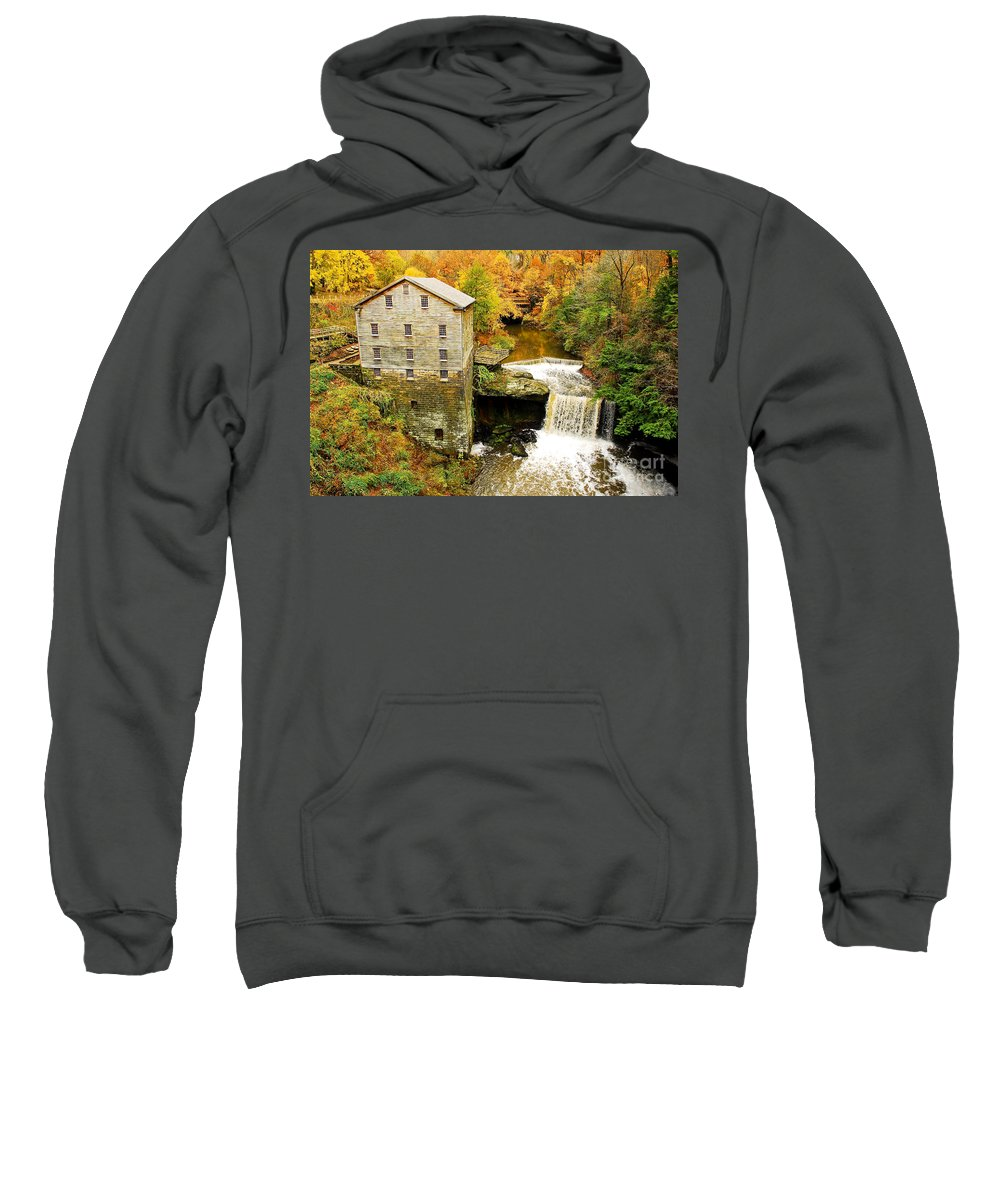 Lantermans Mill Sweatshirt featuring the photograph Lantermans Mill In Fall by Tony Bazidlo