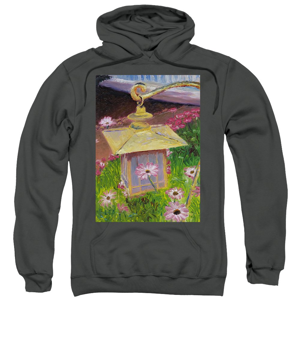 Flower Sweatshirt featuring the painting Lantern And Friends by Lea Novak