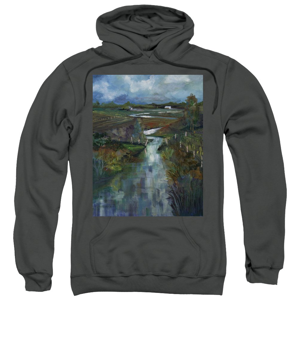 River Sweatshirt featuring the painting Laramie River Valley by Heather Coen