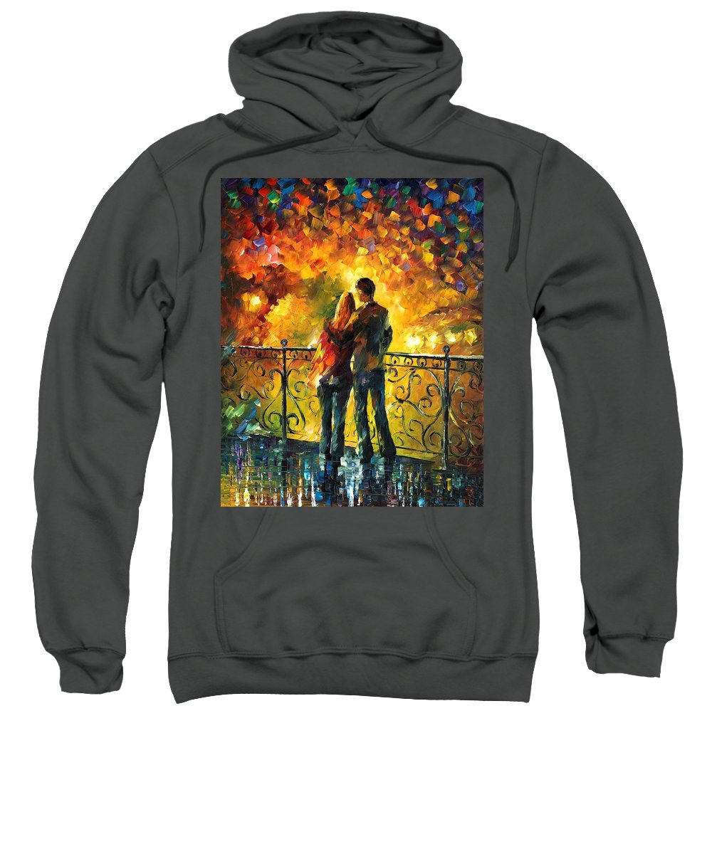 Afremov Sweatshirt featuring the painting Last Date by Leonid Afremov