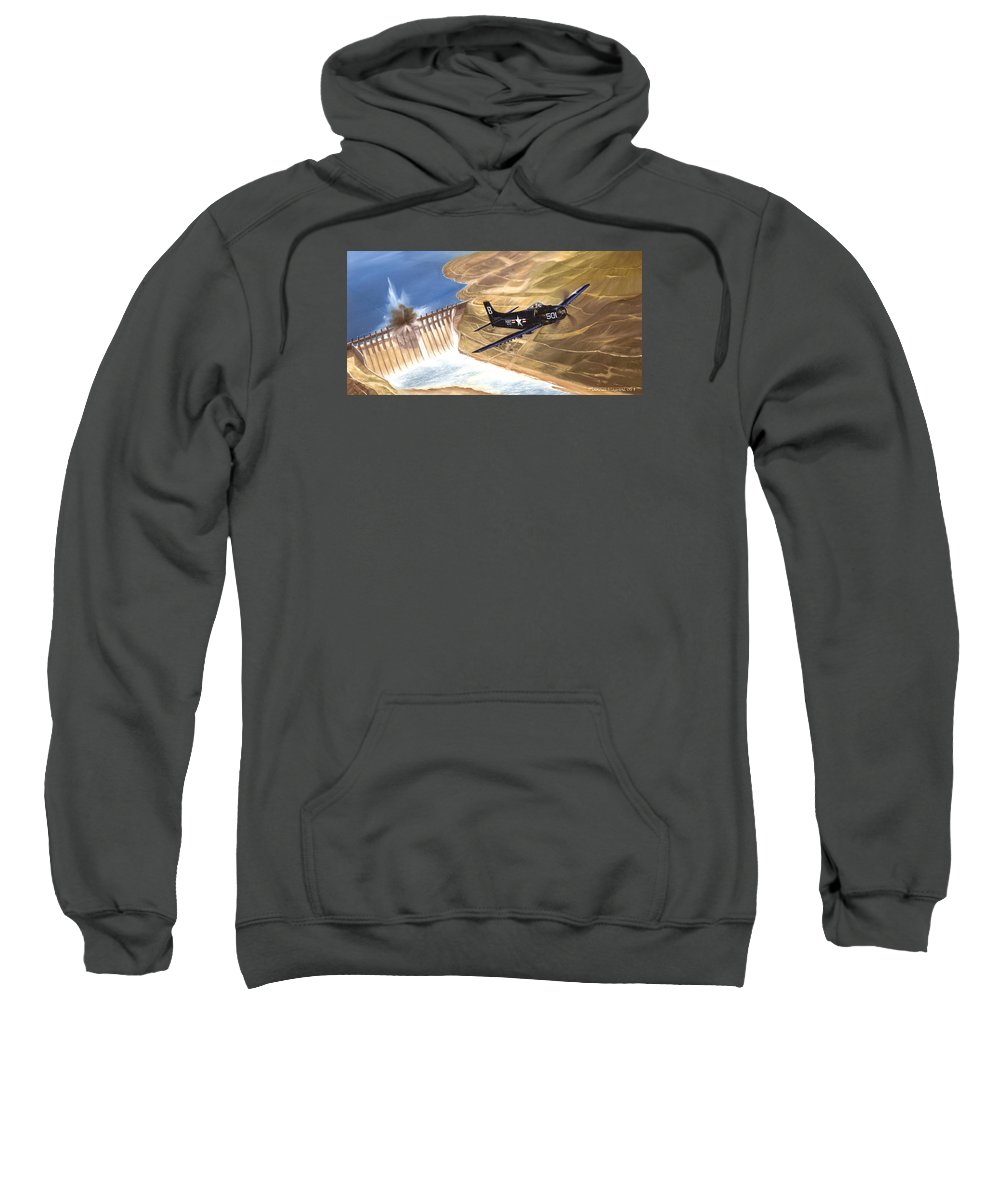 Military Sweatshirt featuring the painting Last Of The Dambusters by Marc Stewart