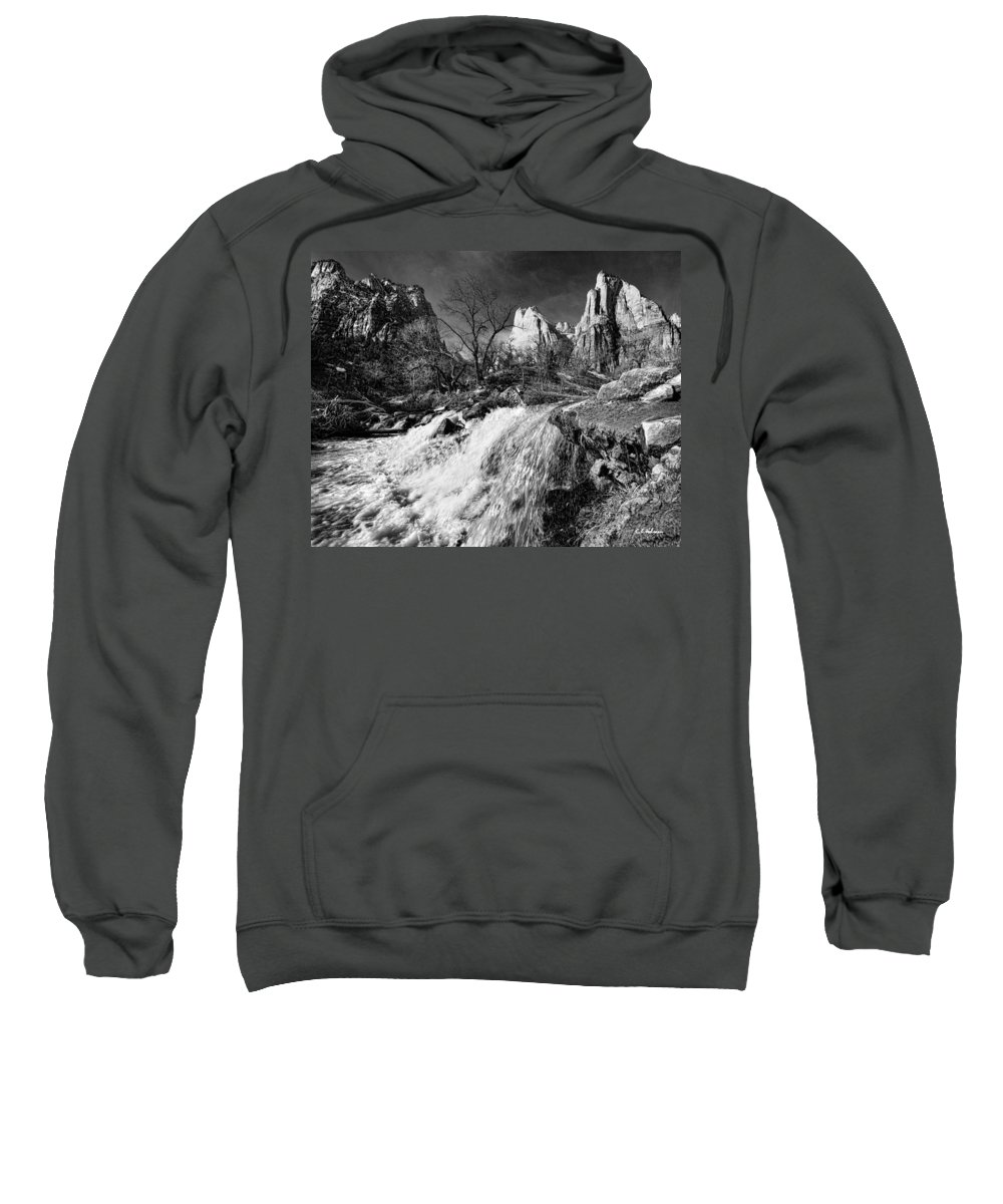 Mountains Sweatshirt featuring the photograph Late Afternoon At The Court Of The Patriarchs - Bw by Christopher Holmes