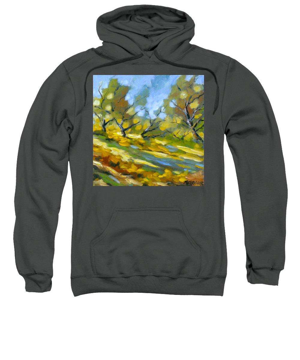 Original Painting; Oil; Landscape; Birches; Trees; Nature; Richard T Pranke; Lake Sweatshirt featuring the painting Late Afternoon by Richard T Pranke