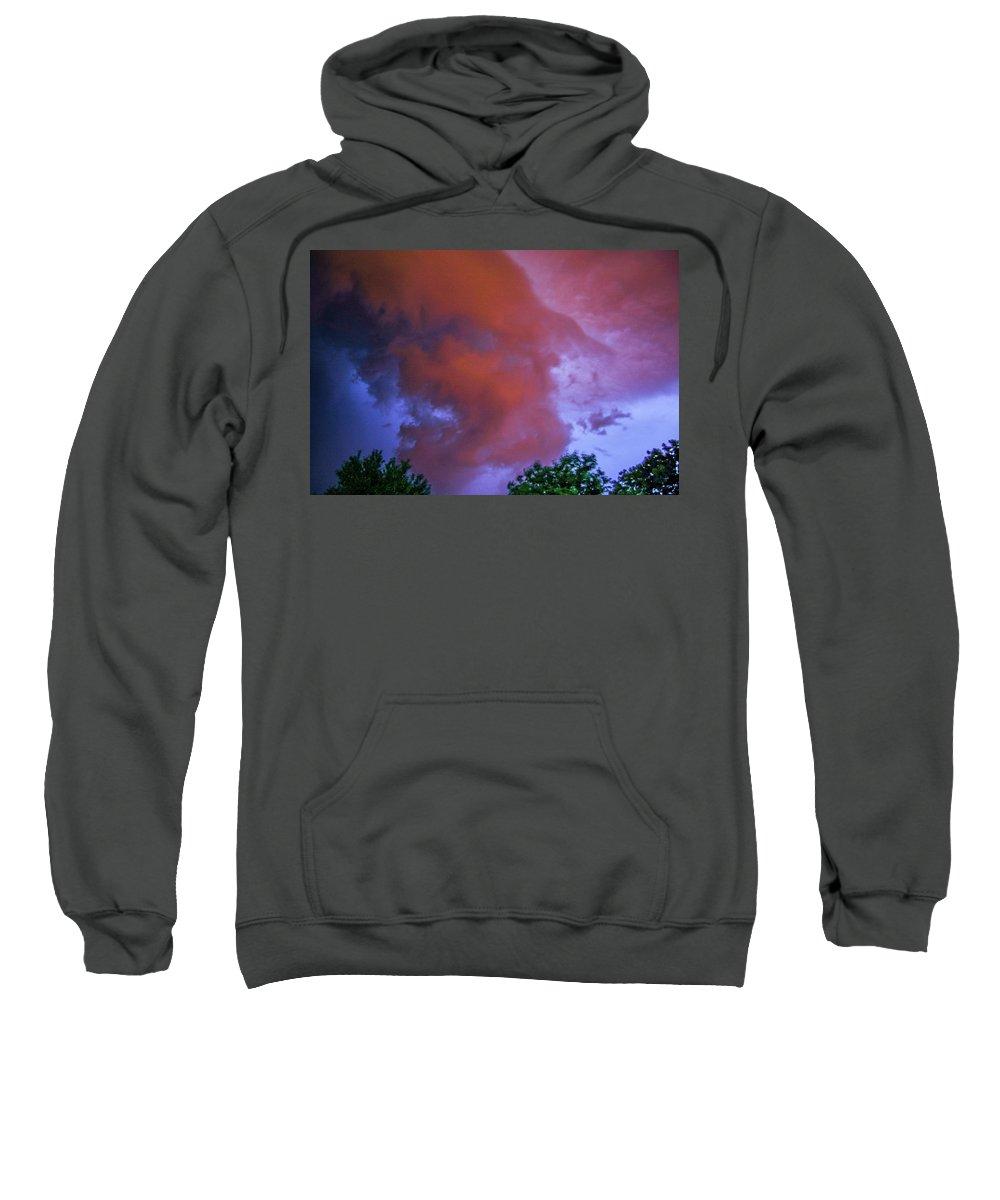 Nebraskasc Sweatshirt featuring the photograph Late Night Nebraska Shelf Cloud 011 by NebraskaSC
