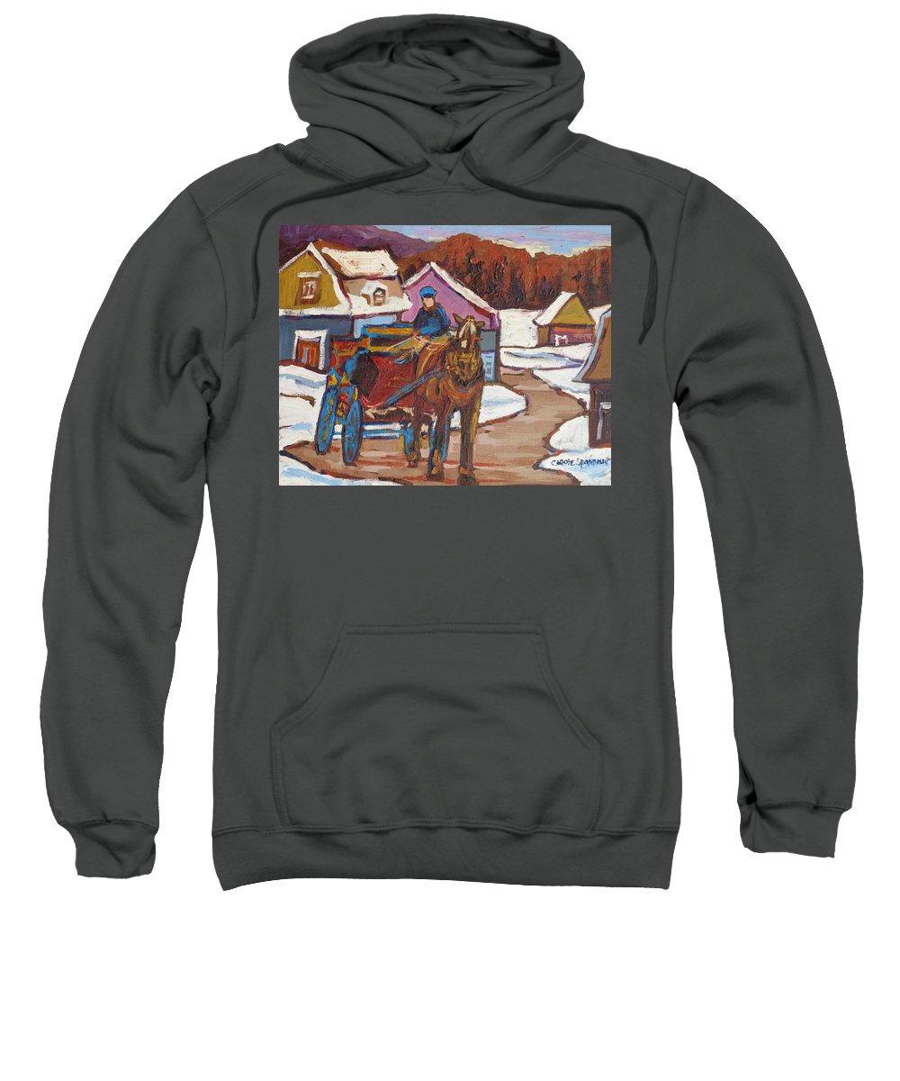 The Laurentians Are Full Of Lovely Village Roads Depicting Hay Wagons Sweatshirt featuring the painting Laurentian Carriage Ride by Carole Spandau