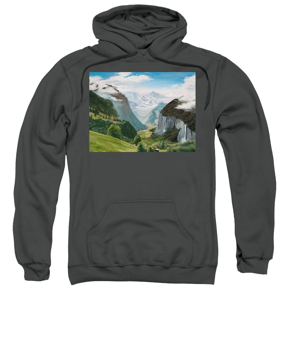 Switzerland Sweatshirt featuring the painting Lauterbrunnen Valley Switzerland by Jay Johnson