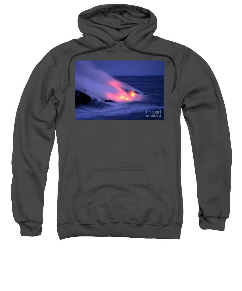 Active Sweatshirt featuring the photograph Lava And Pink Smoke by William Waterfall - Printscapes