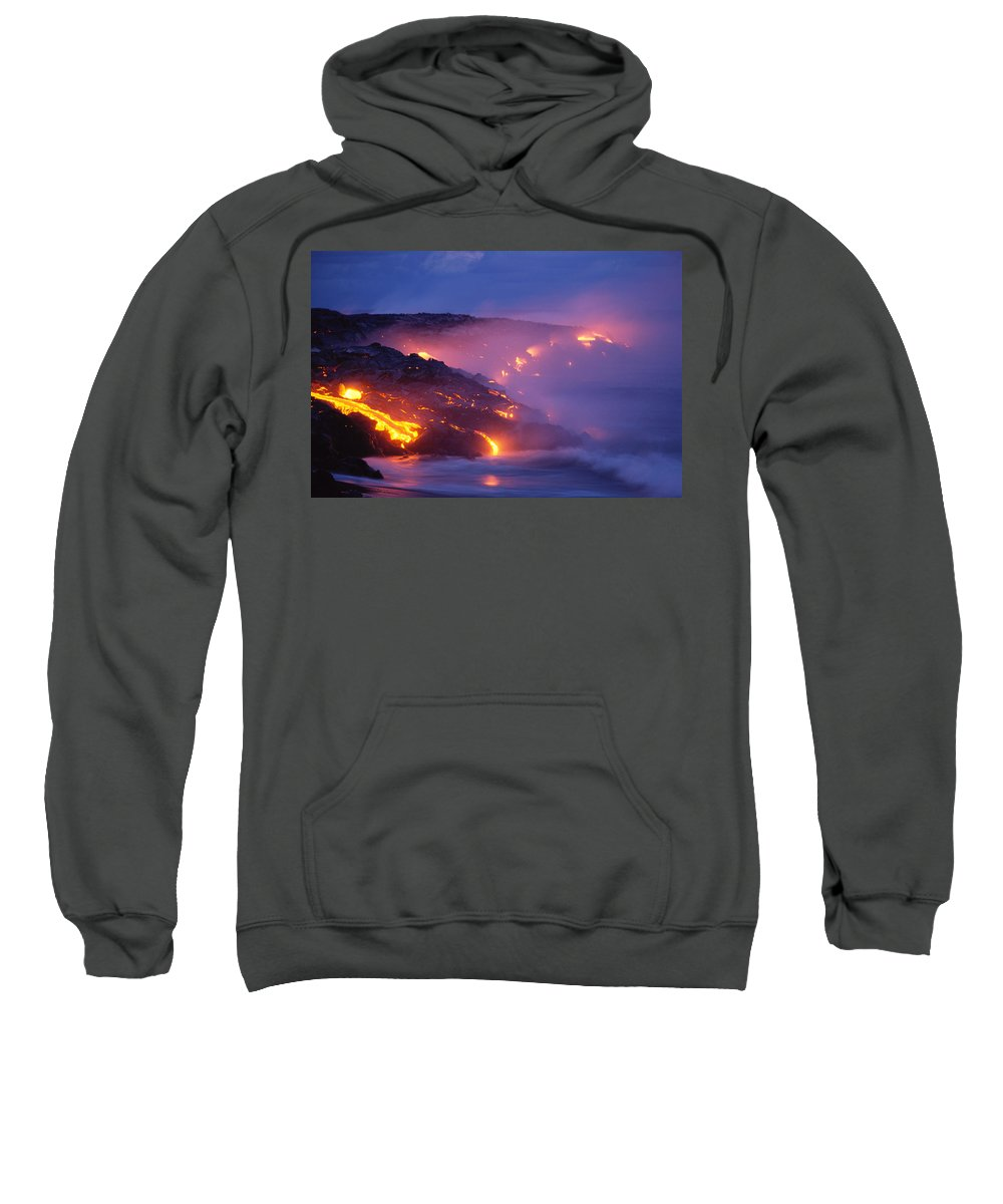 A'a Sweatshirt featuring the photograph Lava At Twilight by Peter French - Printscapes