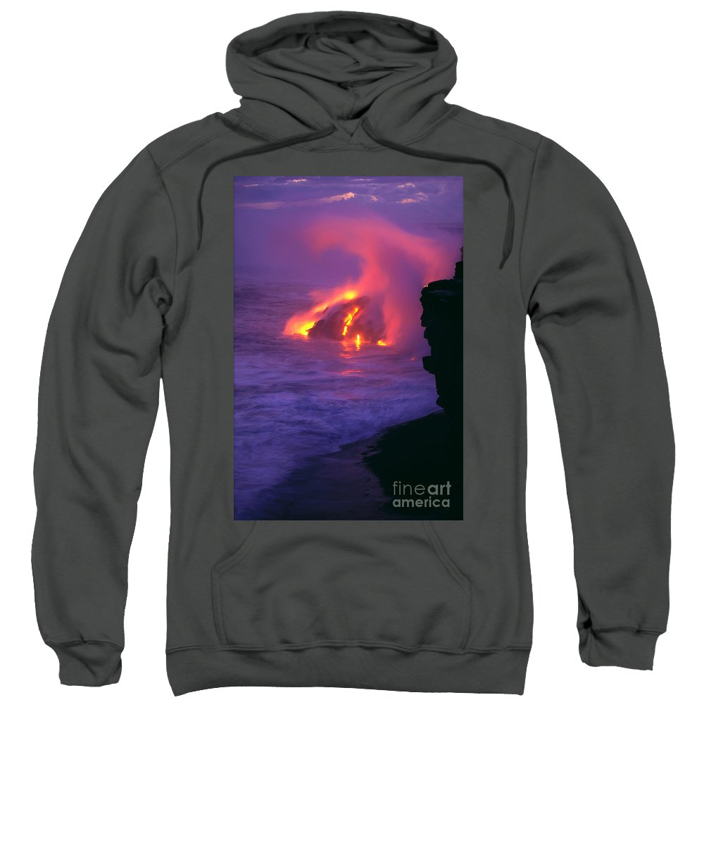 Active Sweatshirt featuring the photograph Lava Meets Ocean Action by William Waterfall - Printscapes