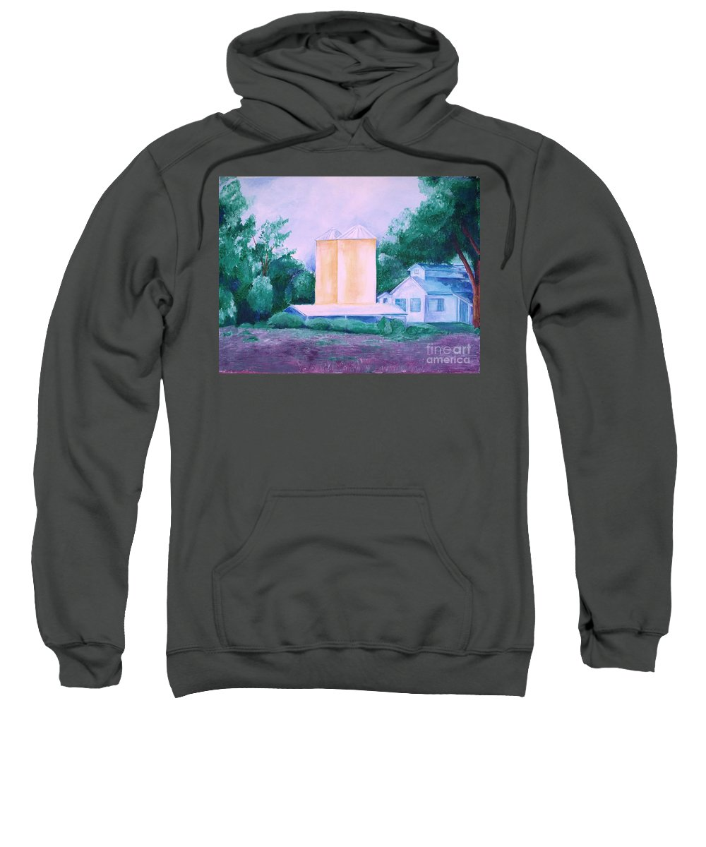 Western Sweatshirt featuring the painting Lavender Farm Albuquerque by Eric Schiabor