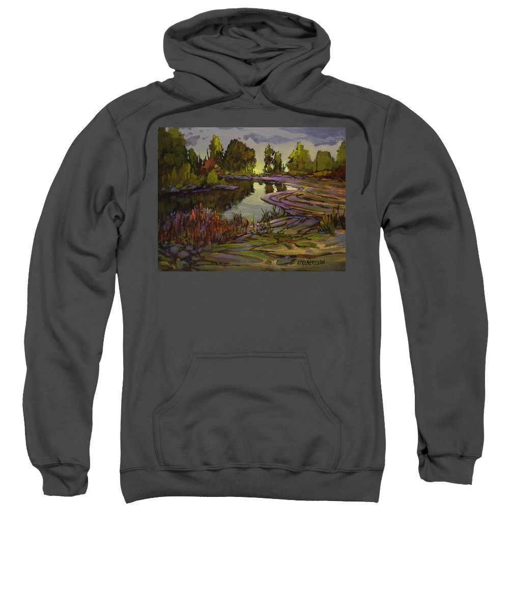 Water Marsh Pond Lake Creek Landscape Peaceful Green Reflections Lavender Purple Violet Mauve Trees Sky Storm Sweatshirt featuring the painting Lavender Field, Langley B C by Catherine Robertson