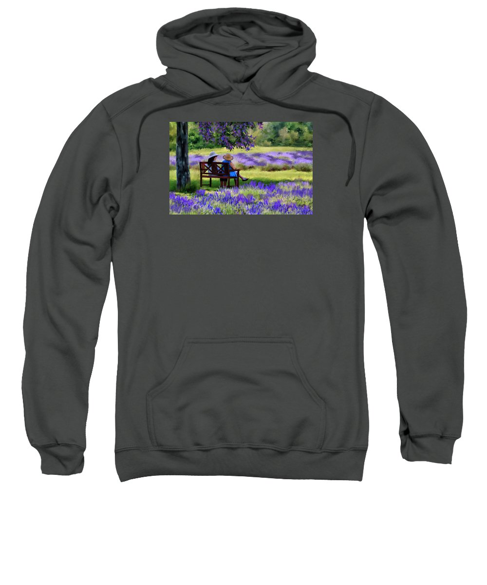 Lavender Sweatshirt featuring the painting Lavender by Johanne Dauphinais