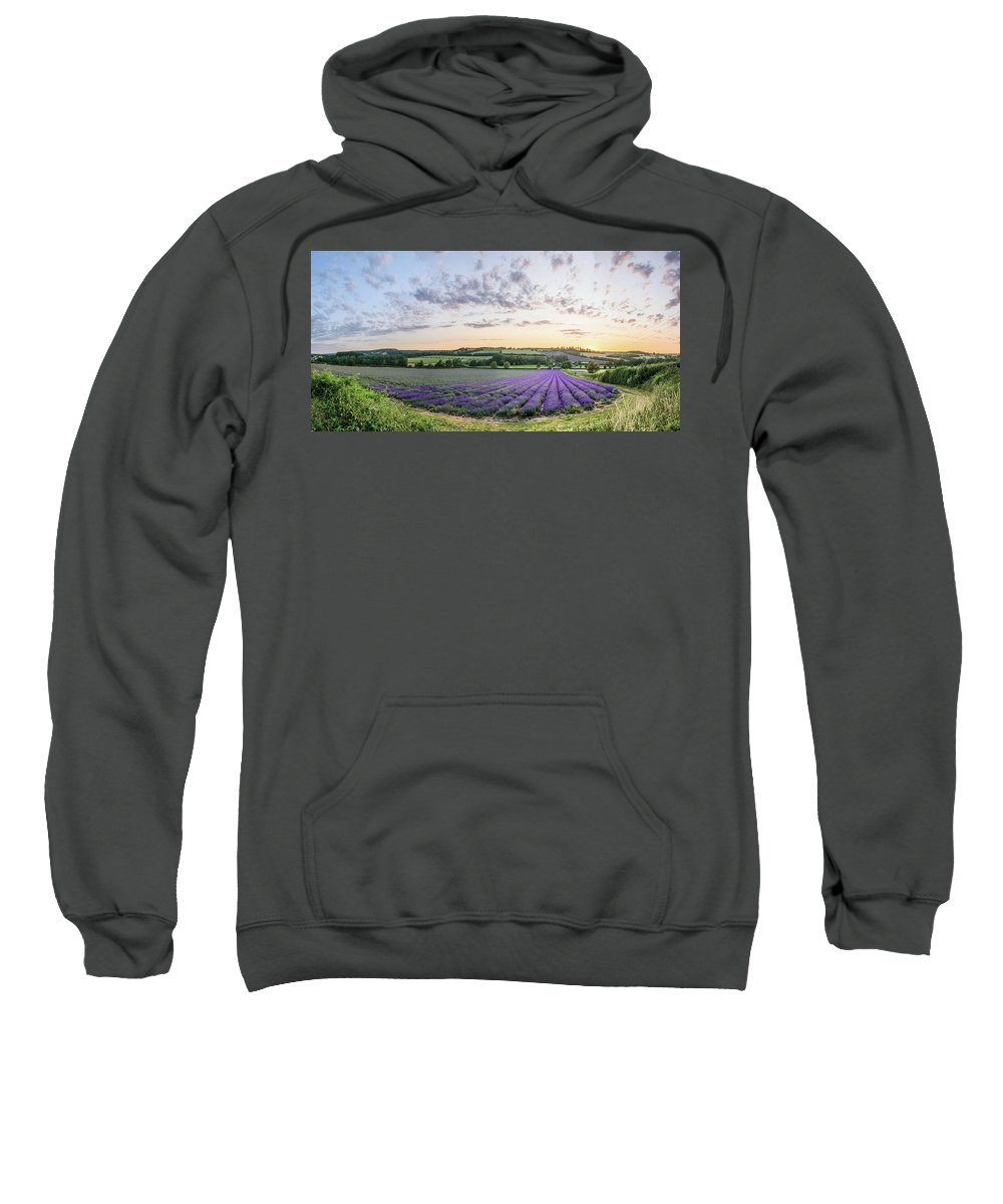 Panorama Sweatshirt featuring the photograph Lavender Sunset Panorama by Alex Lyons