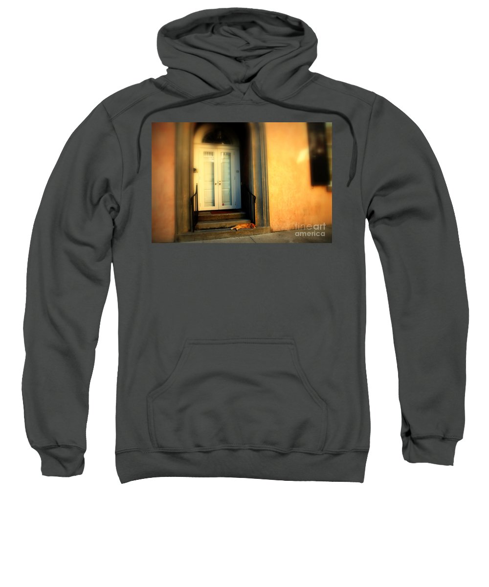 Cat Sweatshirt featuring the photograph Lazy Afternoon At Kings Street In Charleston Sc by Susanne Van Hulst