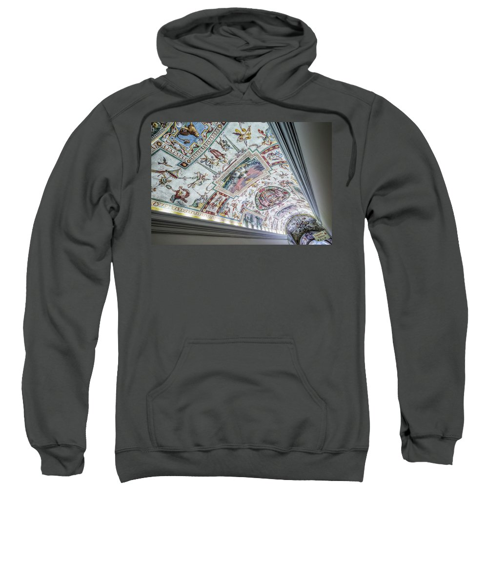 Vatican Museum Ceiling Rome Roma Europe European Detail Art Gallery Beautiful Sculpture Capital City History Historic Abstract White Italia Musei Vaticani Vatican City Sistine Chapel Sweatshirt featuring the photograph Leading To The Sistine Chapel by Michael Evans