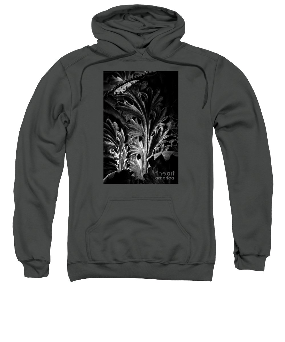 Nashville Sweatshirt featuring the photograph Leaf Detail 2 Black And White by Marina McLain