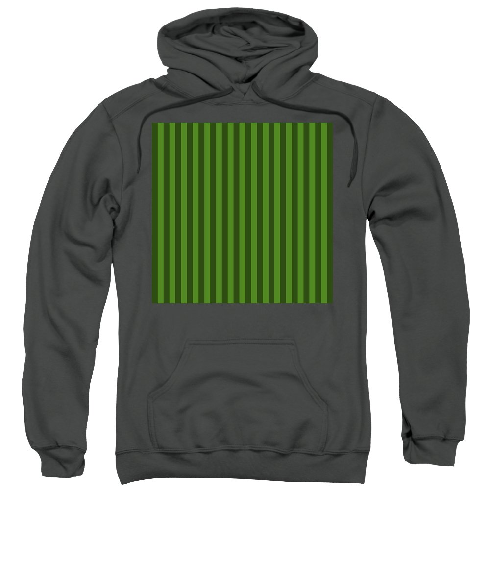 Leaf Sweatshirt featuring the digital art Leaf Green Striped Pattern Design by Ross
