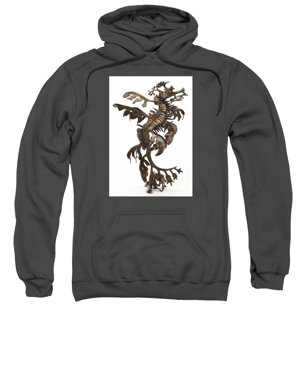 Sea Sweatshirt featuring the sculpture Leafy by Kirk McGuire Bronze Sculpture