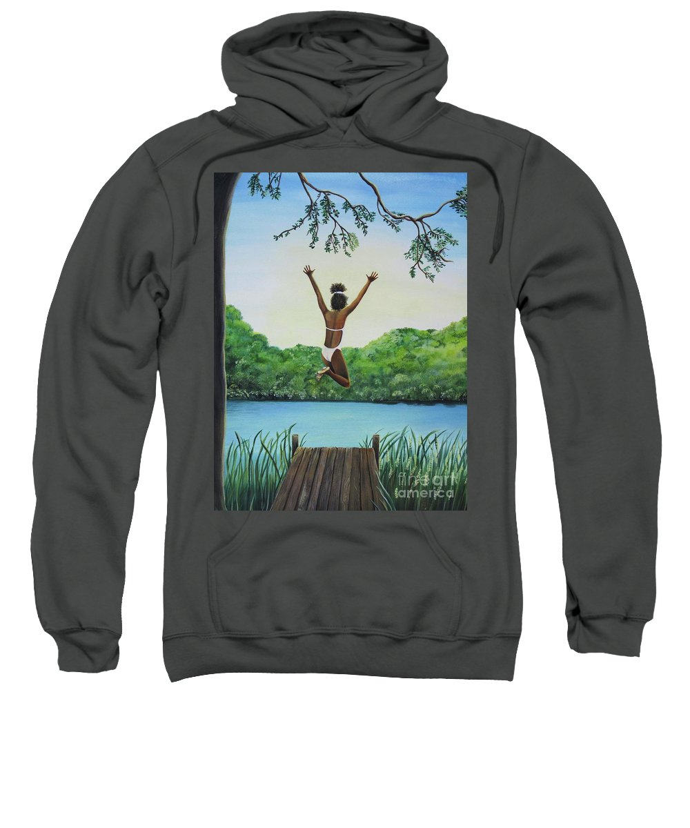 Summer Vacation Sweatshirt featuring the painting Leap Of Faith by Kris Crollard