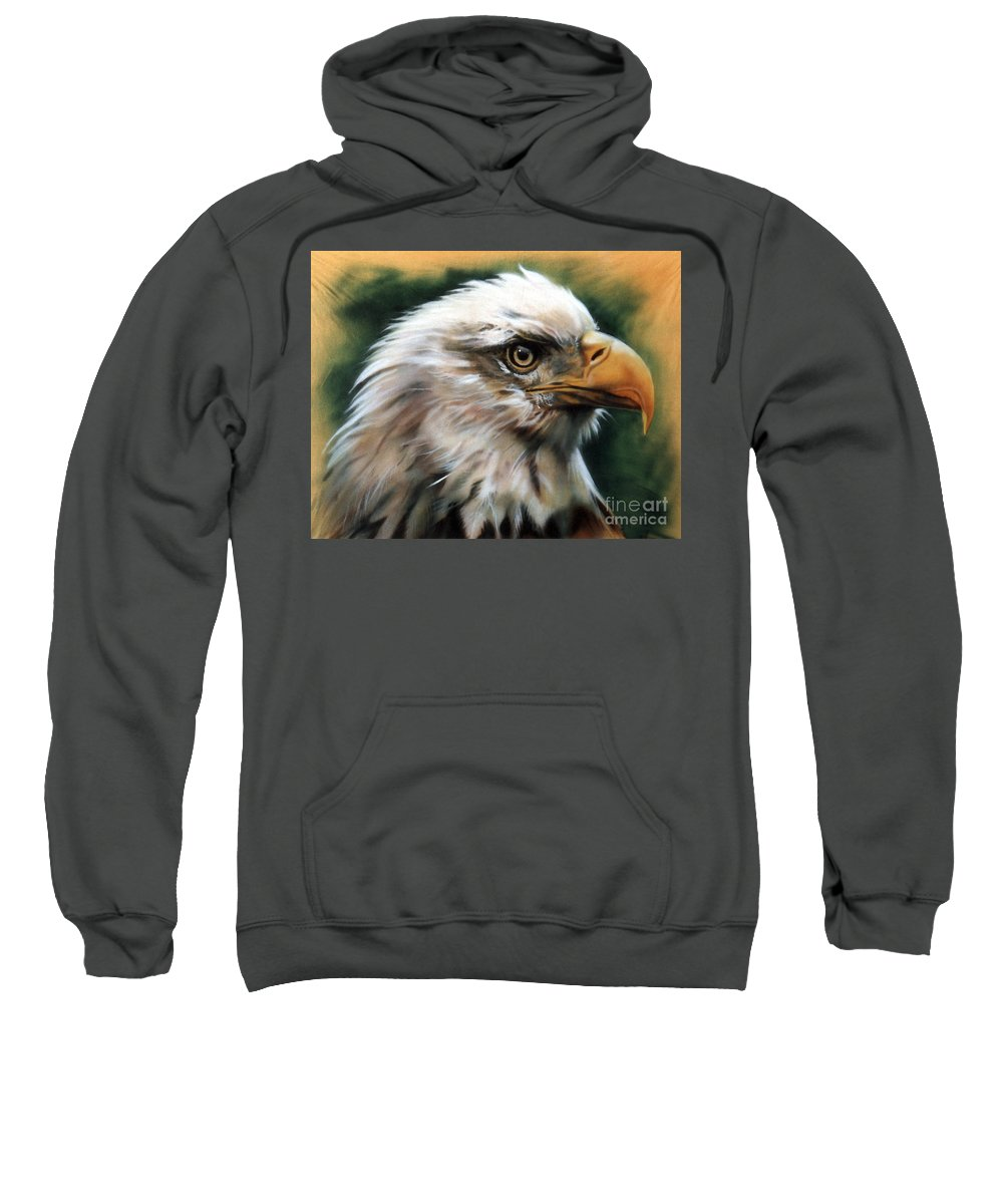 Southwest Art Sweatshirt featuring the painting Leather Eagle by J W Baker