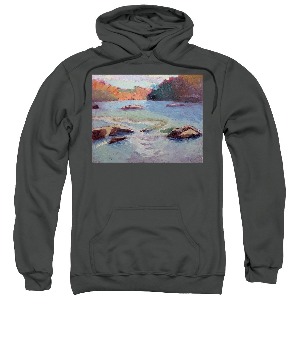 River Sweatshirt featuring the painting Ledges Afternoon Light by Lisa Blackshear