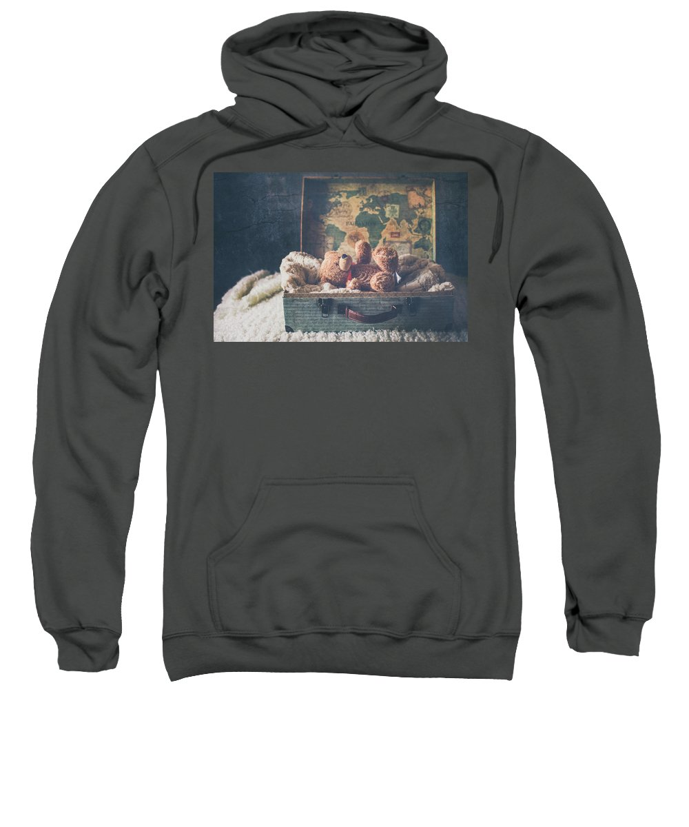 Suitcase With Stuffed Bear Sweatshirt featuring the photograph Left Behind by Elvira Pinkhas