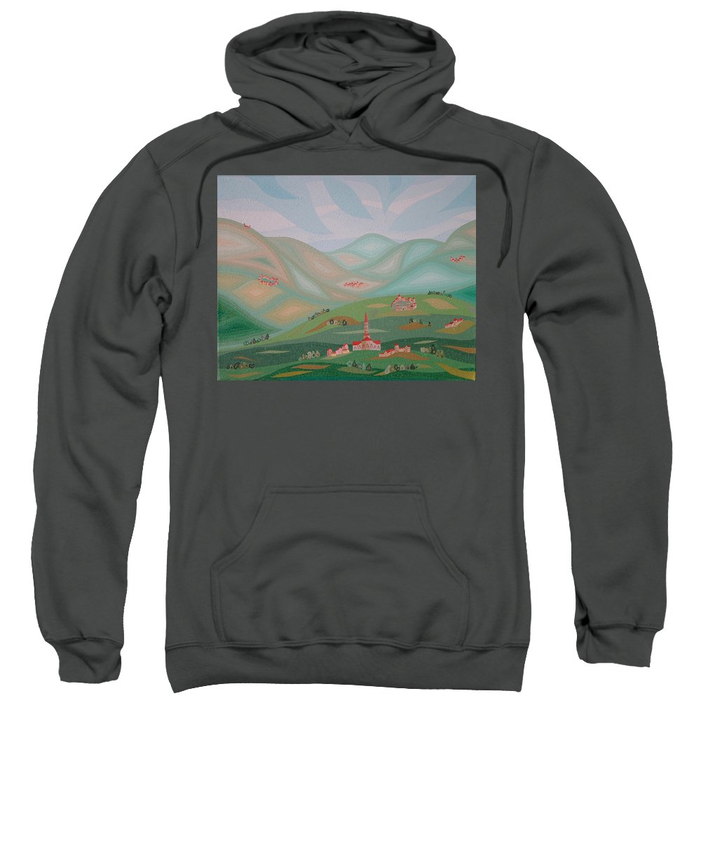 Oil Sweatshirt featuring the painting Legendary Land by Peter Antos