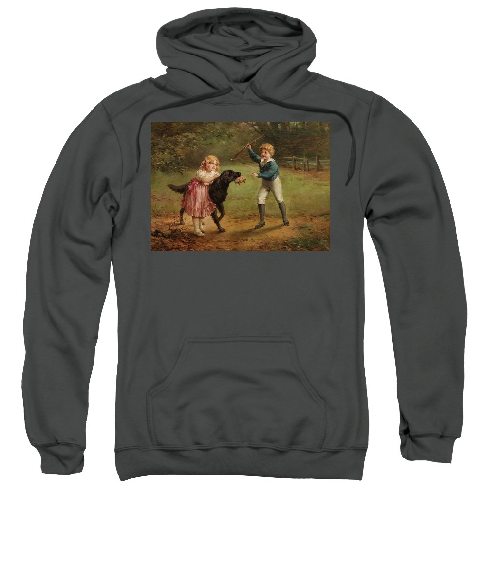 Lossow Sweatshirt featuring the painting Lekande Barn by MotionAge Designs