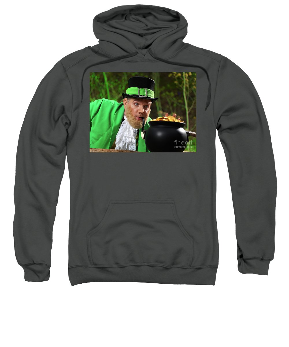 Leprechaun Sweatshirt featuring the photograph Leprechaun With Pot Of Gold by Oleksiy Maksymenko