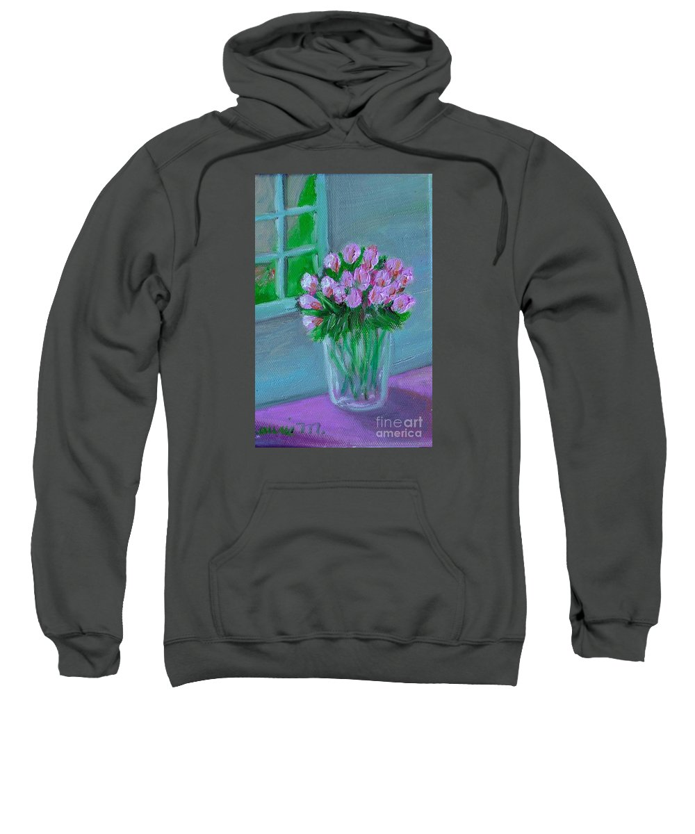Rose Sweatshirt featuring the painting Leslie's Roses by Laurie Morgan